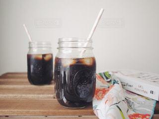 アイスコーヒー メイソンジャー おうちカフェの写真・画像素材[2128981]