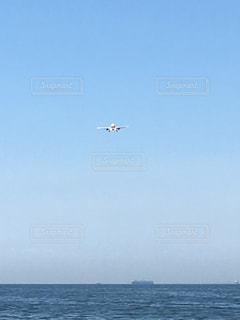 水の体の上に飛んでいる飛行機の写真・画像素材[1375298]