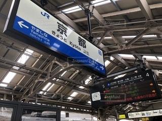駅の横にある看板の写真・画像素材[2119276]