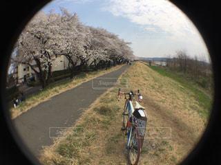未舗装の道路を自転車に乗る人の写真・画像素材[1089807]