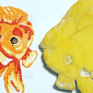 消しゴムはんこの金魚の写真・画像素材[2179545]