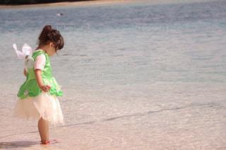 海,後ろ姿,水面,沖縄,子供,キラキラ,羽根,コスプレ,夏休み,妖精