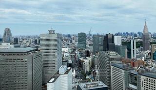 スカイツリーが見える新宿上空からの眺めの写真・画像素材[4374096]