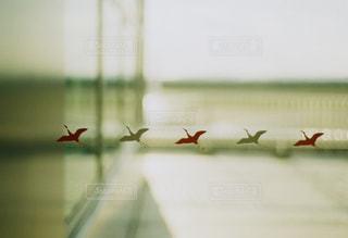 紅白の鶴の写真・画像素材[413131]
