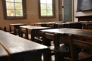 ウィンドウの横にある木のテーブルの写真・画像素材[863026]