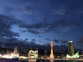 モザイクから見たメリケンパークの夜景。の写真・画像素材[1381459]