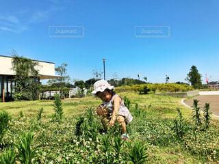 草の中に立っている男の人 - No.766010