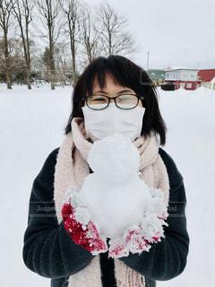 雪だるま作って見た♪の写真・画像素材[1009509]