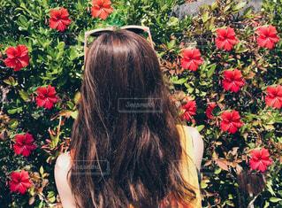 近くに赤い花の女性のアップ - No.766300
