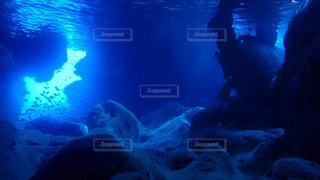 暗闇の中を泳いでいる人の写真・画像素材[1134957]