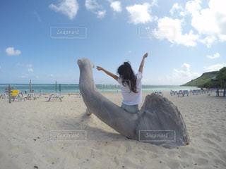 砂浜で座っている男の写真・画像素材[1139318]
