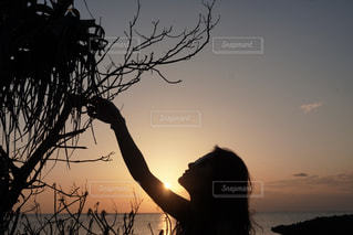 日没の前に立っている人の写真・画像素材[1139332]