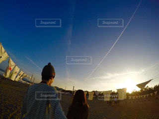 飛行機雲の写真・画像素材[724353]