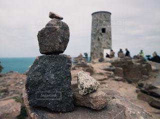 石を積み上げての写真・画像素材[1746346]