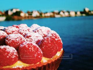 セーヌ川の上で食べるラズベリータルトの写真・画像素材[1768424]