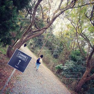 未舗装の道路を歩いて男の写真・画像素材[893131]