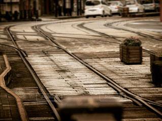 昭和レトロな路面電車の風景の写真・画像素材[736892]