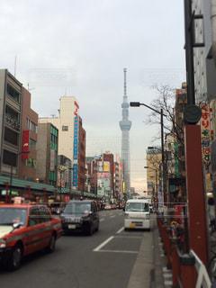 新しい東京のシンボル、スカイツリー。の写真・画像素材[1004303]