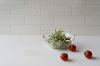 ブロッコリースプラウトとプチトマトの写真・画像素材[4146840]