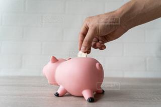 ぶたの貯金箱にお金を入れるの写真・画像素材[4460483]