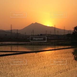 #夕焼け#筑波山#田園風景の写真・画像素材[483688]