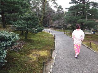 金沢 着物 日本 兼六園 日本庭園の写真・画像素材[1350639]