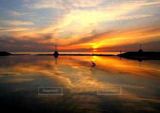 いくつかの水に沈む夕日の写真・画像素材[1264685]