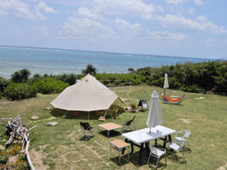 沖縄 石垣島 海の見えるカフェ カフェ 海 テント 綺麗の写真・画像素材[503212]