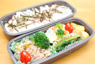 皿のご飯とブロッコリー料理の写真・画像素材[1088371]
