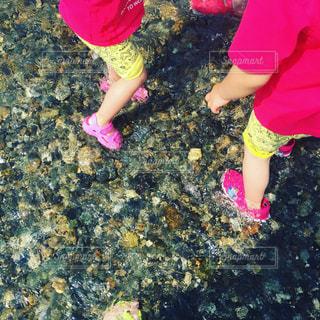 #川遊び#おそろいコーデ #きもちいい #はしゃぎすぎ #おたまじゃくし #はじめてみた #かわいい  #手にのせる #カエルになると知らずにの写真・画像素材[535269]