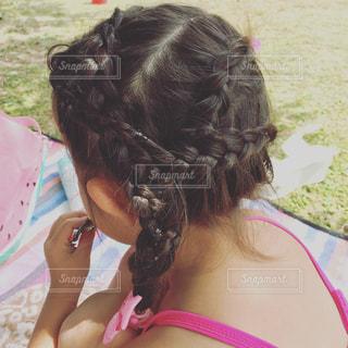 #ヘアアレンジ#幼稚園児#女の子#編み込み#編み込みヘアアレンジの写真・画像素材[560908]