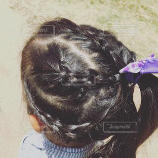 #ヘアアレンジ#幼稚園児#女の子#編み込み#編み込みヘアアレンジの写真・画像素材[560909]