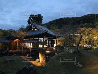 ライトに照らされる寺の写真・画像素材[3107193]