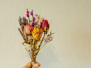 紫色の花一杯の花瓶の写真・画像素材[1853781]