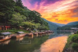 嵐山の夕焼けの写真・画像素材[1275405]