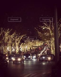 表参道のライトアップされた夜の街の写真・画像素材[849264]