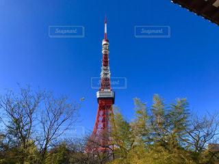 建物の側に時計と大きな背の高い塔の写真・画像素材[956018]