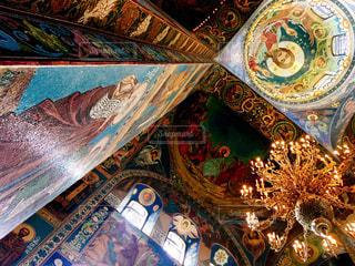 世界で最も美しい壁画。サンクトペテルブルクの血の上の救世主教会。の写真・画像素材[795666]