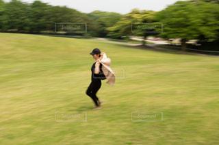 芝生にてはしゃいでいる様子の写真・画像素材[1315194]