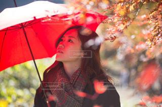 カラフルな傘をもつ少女の写真・画像素材[1315282]
