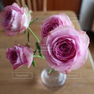 テーブルの上のピンクの花で一杯の花瓶の写真・画像素材[1148102]