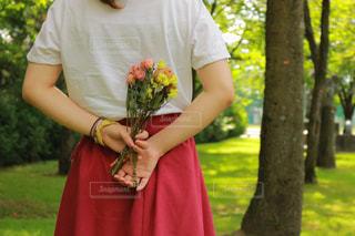 森の前で赤いドレスの立っている人の写真・画像素材[1404878]