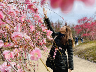ピンクの花を着ている人の写真・画像素材[3059407]