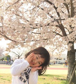 木の隣に立っている少年の写真・画像素材[1124075]