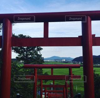 ウィンドウの前面に大きな赤い椅子 - No.808569