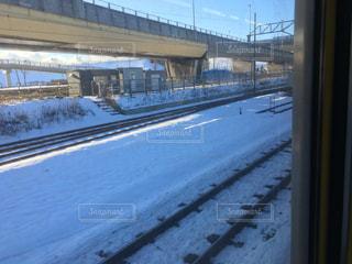 雪に覆われた鉄道の写真・画像素材[1638671]