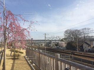 フェンスの横に下り列車を走行する列車を追跡します。 - No.1029901