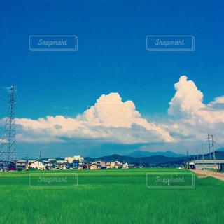 空の雲と大規模なグリーン フィールドの写真・画像素材[727168]