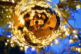 近くにクリスマス ツリーのアップの写真・画像素材[912568]
