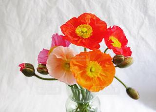 テーブルの上に座っての花で一杯の花瓶の写真・画像素材[1736571]